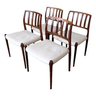 """1960s Vintage Niels Møller """"Model 83"""" Rosewood Dining Chairs for j.l. Møller- Set of 4 For Sale"""