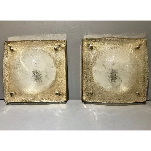 Metal Pair of Murano Sconces, C. 1980 For Sale - Image 7 of 7
