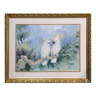 Large Framed Limited Edition Print of 2 Cockatoos Sitting on a Tree Branch by Richard E Williams For Sale