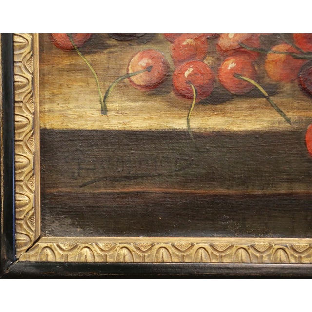 19th Century French Signed Oil on Canvas Painting in Carved Gilt Frame For Sale - Image 9 of 11