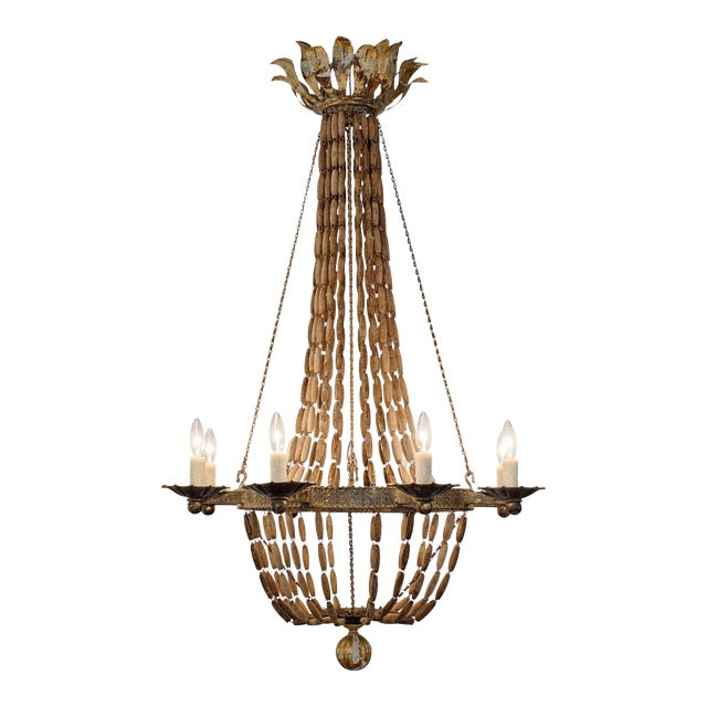 Vintage Italian Wooden Chandelier For Sale