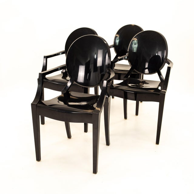 Mid-Century Modern Kartell Mid Century Black Acrylic Ghost Dining Chairs - Set of 4 For Sale - Image 3 of 11
