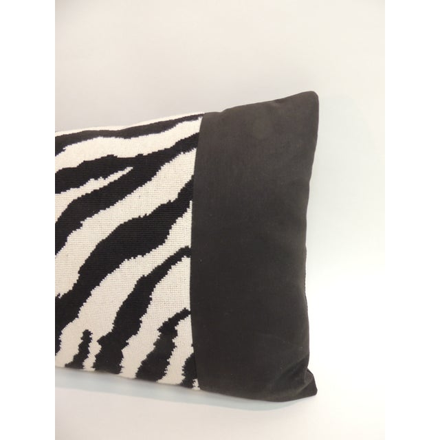 Vintage black and white Zebra pattern long decorative bolster pillow with black cotton frame and backing. Handcrafted and...