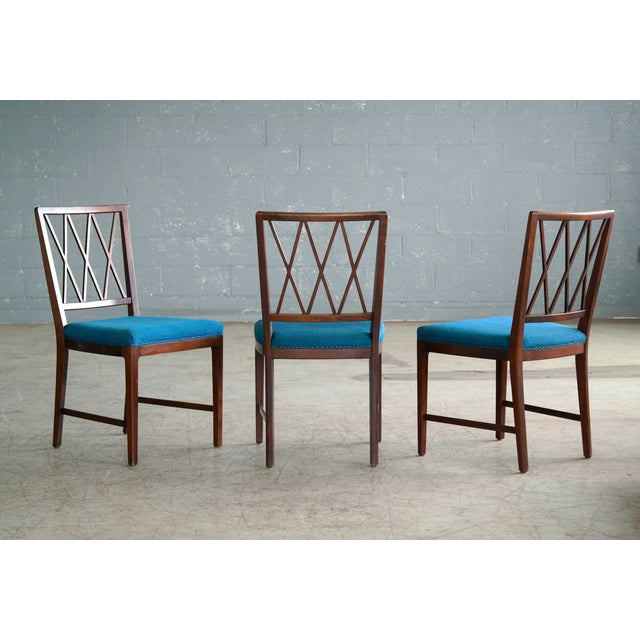 1940s Set of Ten Danish Chairs in Rosewood Stained Beech Attributed to Ole Wanscher For Sale - Image 5 of 10