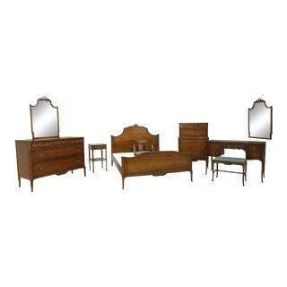 Vintage 1930s Satinwood 9 Piece Paint Decorated Bedroom Set For Sale