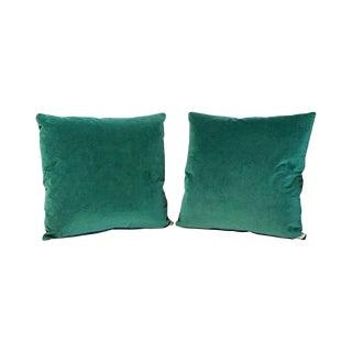 Kim Salmela Evergreen Silk Velvet Square Throw Pillows - a Pair For Sale