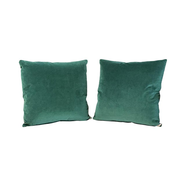 Kim Salmela Evergreen Silk Velvet Square Throw Pillows - a Pair For Sale