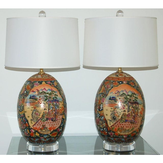 Asian Vintage Satsuma Table Lamps For Sale - Image 3 of 9