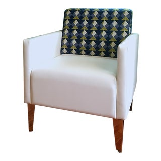 ERG Contemporary White With Blue/Green Geometric Pattern Back Upholstery Chrome Legs Lounge Chair