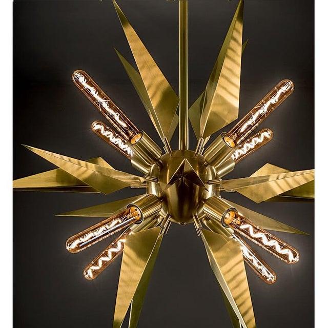 Hollywood Regency Brushed Brass Starburst Chandelier For Sale - Image 3 of 5
