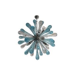 Contemporary Murano Glass Sputnik Chandelier With Random Blue and Transparent Drops Preview