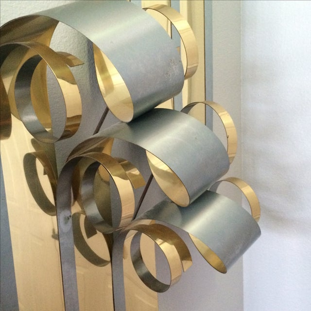 Curtis Jere Two Tone Steel Metal Ribbon Sculpture - Image 7 of 9