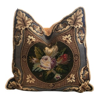 Antique Victorian Needlepoint Pillow For Sale