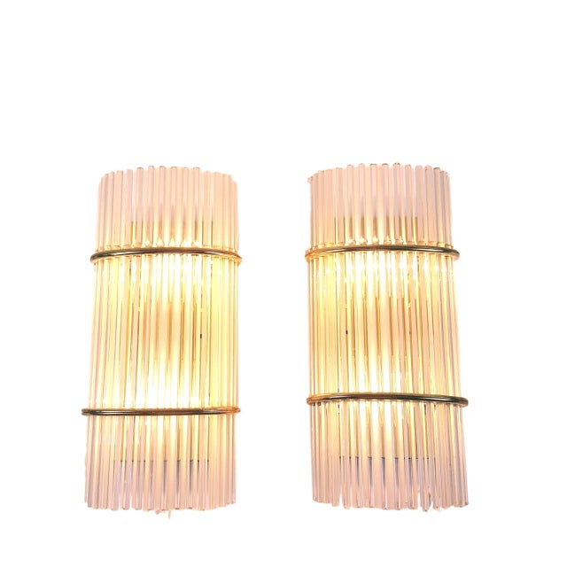 Gaetano Sciolari Glass Rod Sconces - Pair - Image 3 of 5