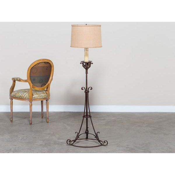High end antique french forged iron candle stand floor lamp circa this unique forged iron antique french floor lamp circa 1900 was originally a candle stand used aloadofball Choice Image