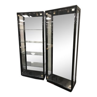 Henredon Black Lacquer Curio Cabinets - A Pair For Sale