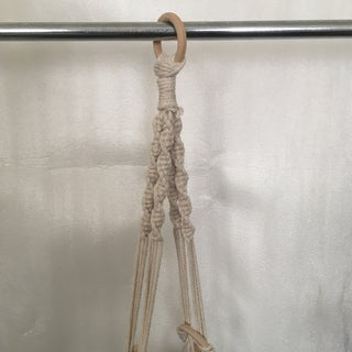 1980's Macrame Plant Hanger & Green Ceramic Cachepot Preview