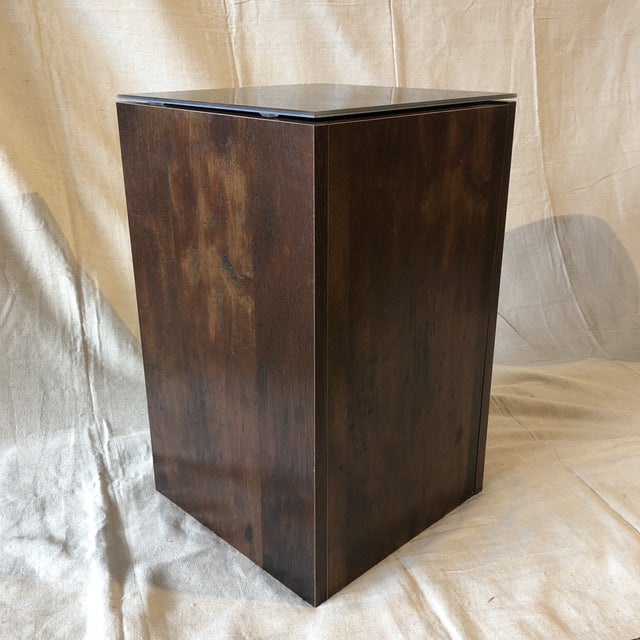 Faux Tree Stump Square Side Table Hollow table (for storage) and faux tree trunk glass top. Made in the USA Size: 12 x 12...