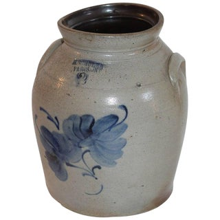 19th C. Decorated Stoneware Canadian Crock For Sale