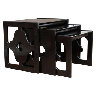 Cutout Ebonized Wood Vintage Nesting Tables - Set of 3 For Sale