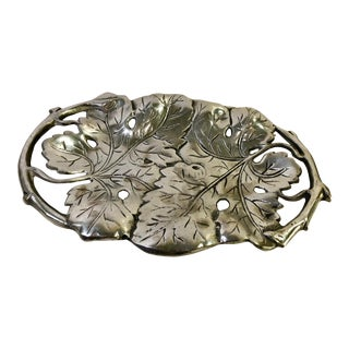 Leaves Design Pewter / Armatale Tray and Handles For Sale