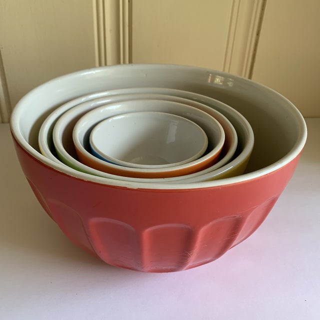 Boho Chic Colorful Set of Five Assorted Nesting Bowls For Sale - Image 3 of 10