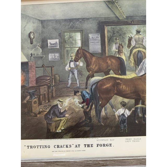 "Mid-19th Century ""Trorting Gracks at the Forge"" Print by Currier & Ives, Framed For Sale In New York - Image 6 of 10"