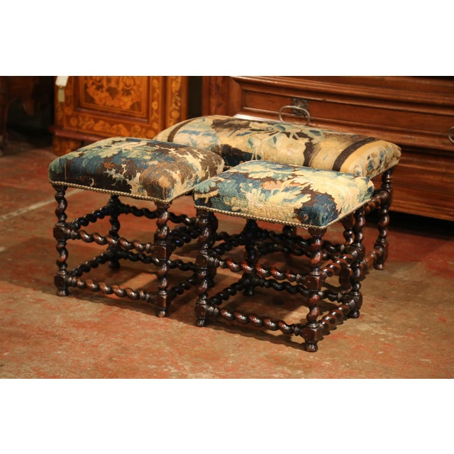 19th Century French Carved Walnut Stools and Bench With Aubusson Tapestry - Set of 3 For Sale - Image 9 of 9