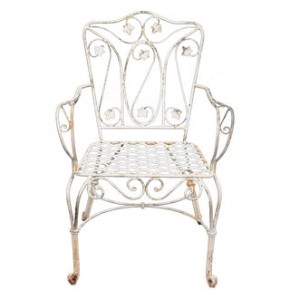 French Cottage Floral Scroll Lattice Seat Iron Garden Patio Chair Armchair
