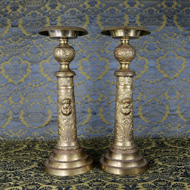 Vintage Brass Cherub Candlesticks - A Pair For Sale - Image 11 of 11