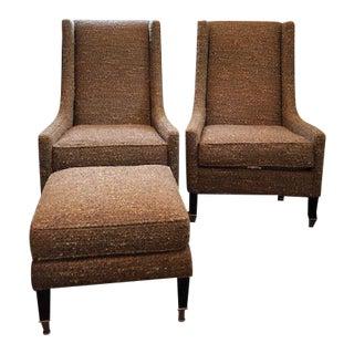 Modern Kravet Modern Classic Lounge Chairs & Ottoman For Sale