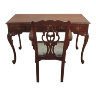 Davis French Style Solid Mahogany Writing Desk and Chair Set For Sale