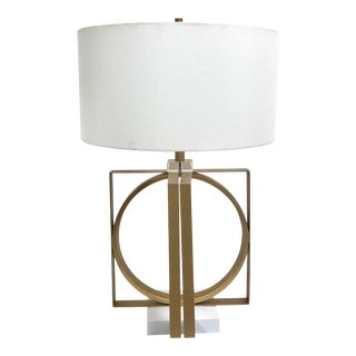 Van Teal Gold Metal Geometric and Lucite Table Lamp For Sale