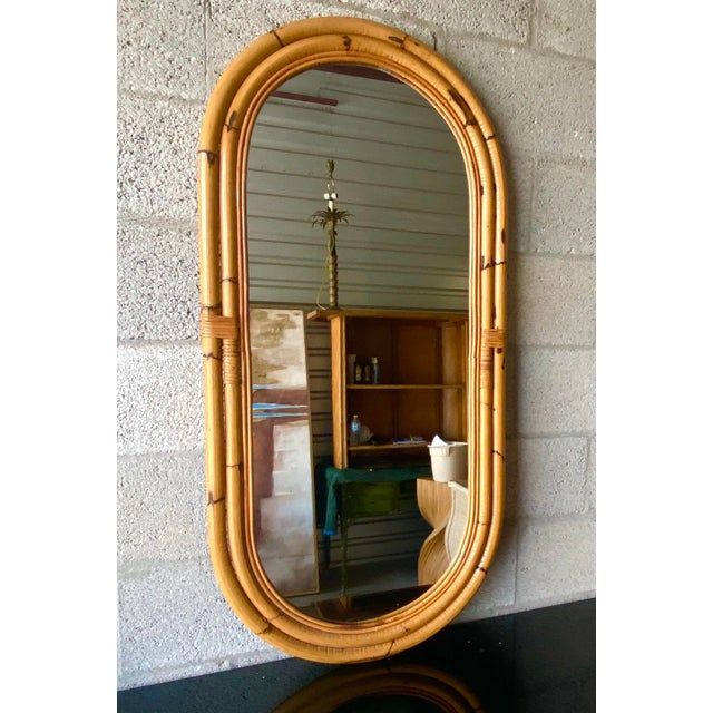 Wood Vintage Coastal Bamboo Oval Mirror For Sale - Image 7 of 11