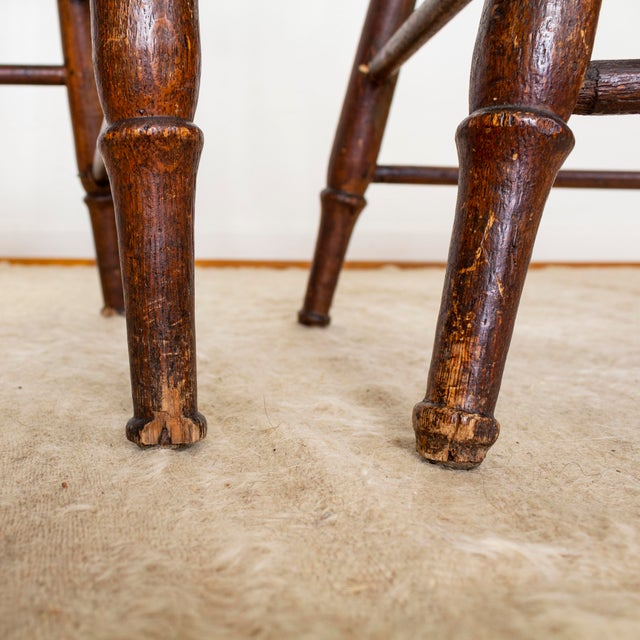 19th Century Vintage Cane Seat Spindle Back Windsor Primitive Bow Back Chairs For Sale - Image 12 of 13