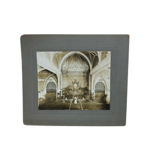 "Early 20th Century Antique ""Church Alter"" Mounted Black & White Photograph For Sale"