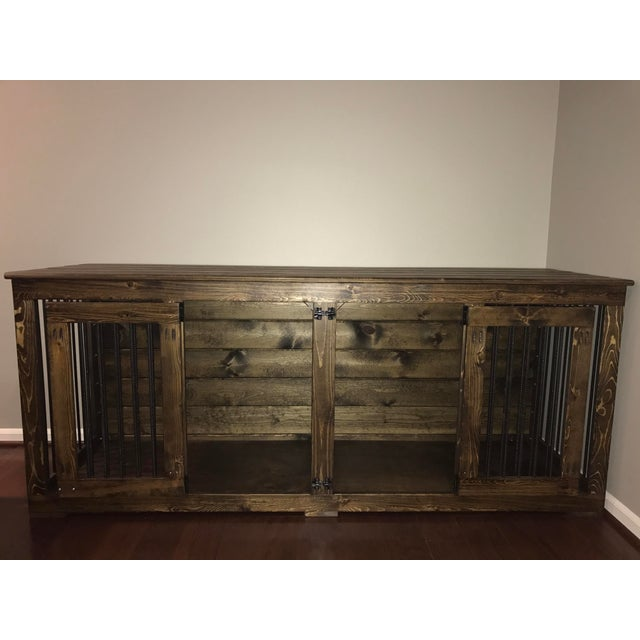 This rustic indoor dog kennel by B&B Kustom Kennels is uniquely handcrafted out of wood and metal rods. This wooden double...