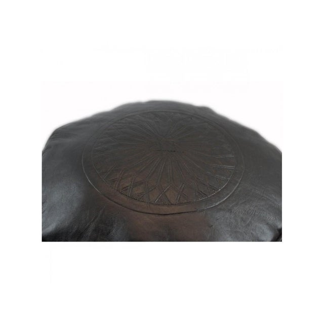 Black Leather Moroccan Pouf/Ottoman - Image 5 of 5