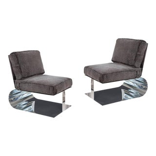 Contemporary Custom Polished Aluminum & Shearling Lounge Chairs - a Pair For Sale