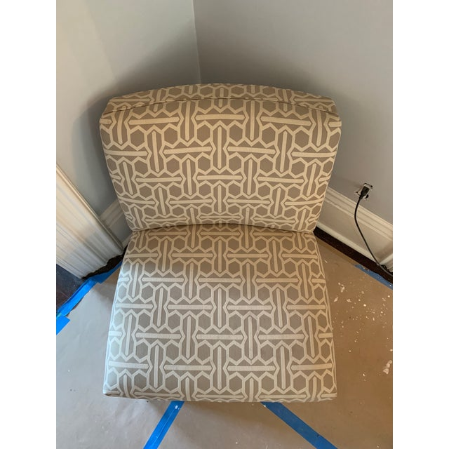 Gorgeous and extremely comfortable pair of Mitchell Gold Archer chairs in taupe tribal geo material, and nutmeg legs. Some...