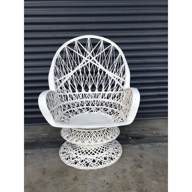Boho Chic Vintage Spun Fiberglass Patio Lounge Chair For Sale - Image 3 of 12