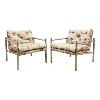 Milo Baughman Chrome Bamboo Lounge Chairs- a Pair