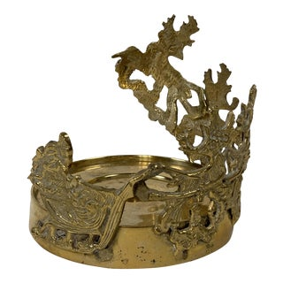 Brass Reindeer Candleholder For Sale