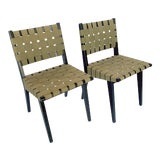 Image of Jens Risom for Knoll Webbed Wood Side Chairs - Pair For Sale