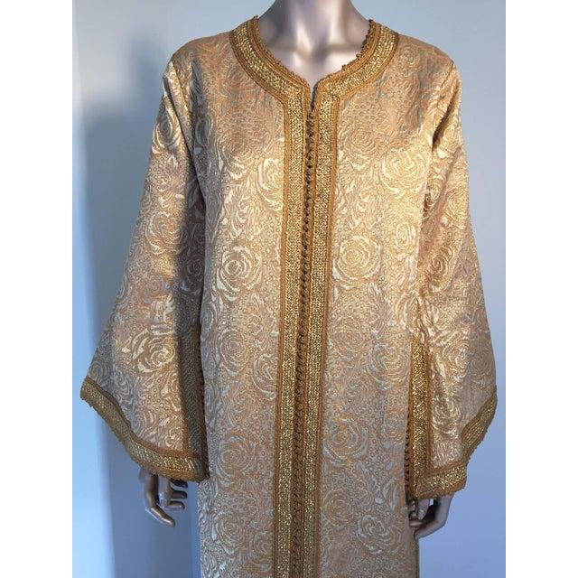 dfff08abe0 Islamic Moroccan Caftan in Gold Bronze Metallic Brocade Maxi Gown Dress  Kaftan For Sale - Image