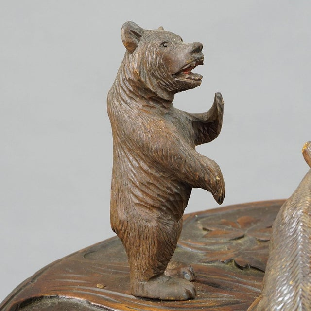 Wood A Nice Black Forest Carved Smoking Side Table With Bears For Sale - Image 7 of 11