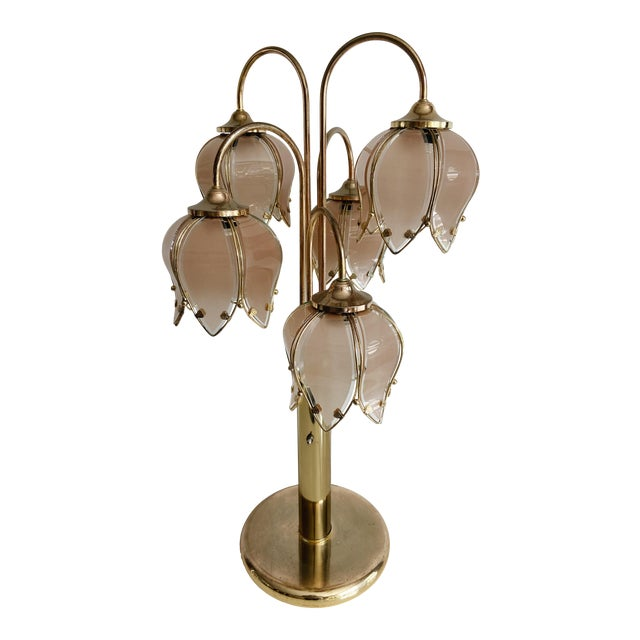 Vintage Pink Glass Tulip & Brass Table Lamp For Sale