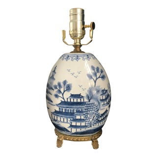 Vintage Chinese Blue and White Porcelain Lamp on Brass Base For Sale