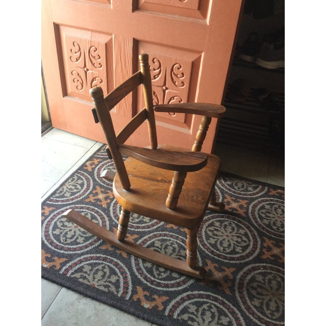 Wood 1970s Vintage Children's Wooden Rocking Chair For Sale - Image 7 of 7