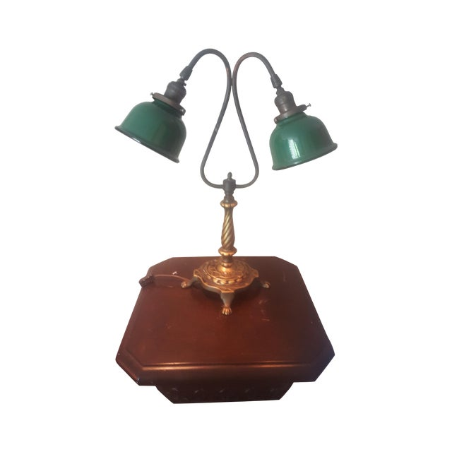 Vintage Industrial Two Arm Accent Lamp With Metal - Image 6 of 8